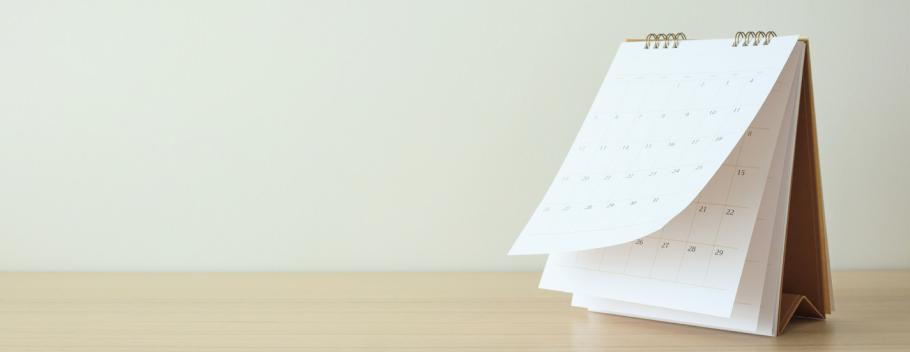 A paper flip calendar