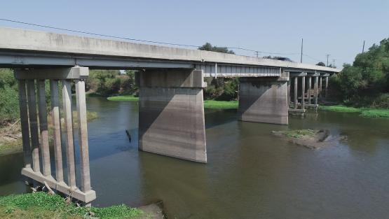 View of Pillars and river of Crows landing Bridge