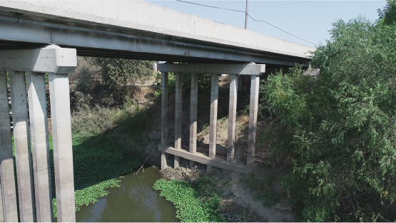 View of pillars of corws landing bridge